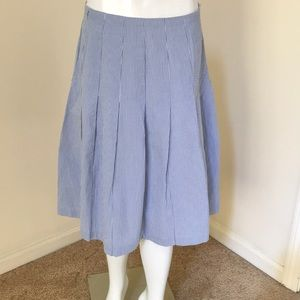 Brooks Brothers Sz 8 blue pinstripe pleated skirt